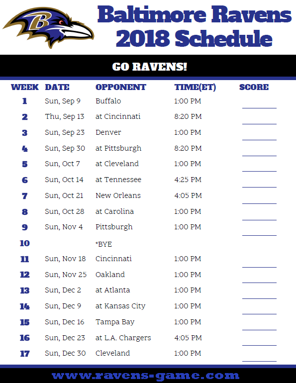 baltimore ravens schedule 2018